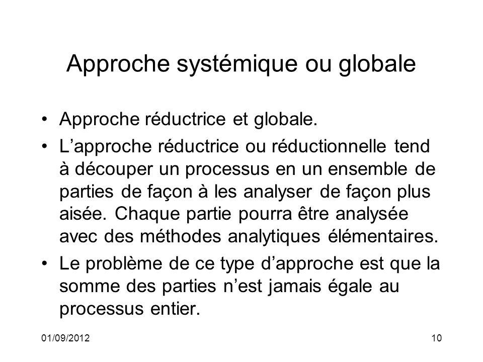 01/09/201210 Approche systémique ou globale Approche réductrice et globale. Lapproche réductrice ou réductionnelle tend à découper un processus en un