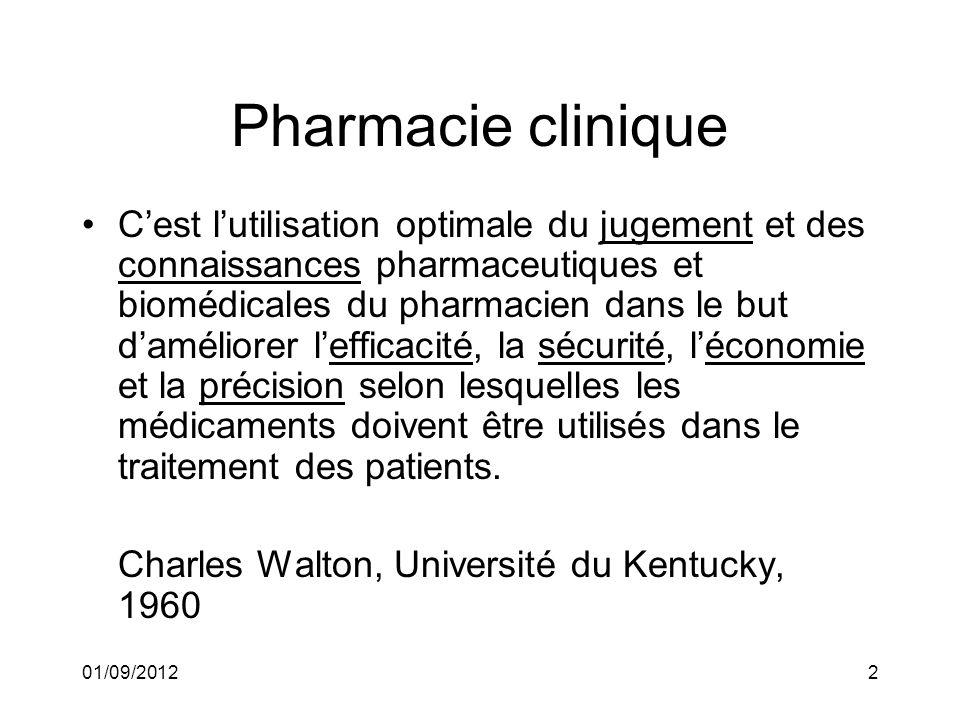 01/09/20123 Pharmacie clinique Le pharmacien agit dans le cadre dun ensemble de prescriptions médicales dont il va augmenter lefficacité et la sécurité par une plus-value pharmaceutique.