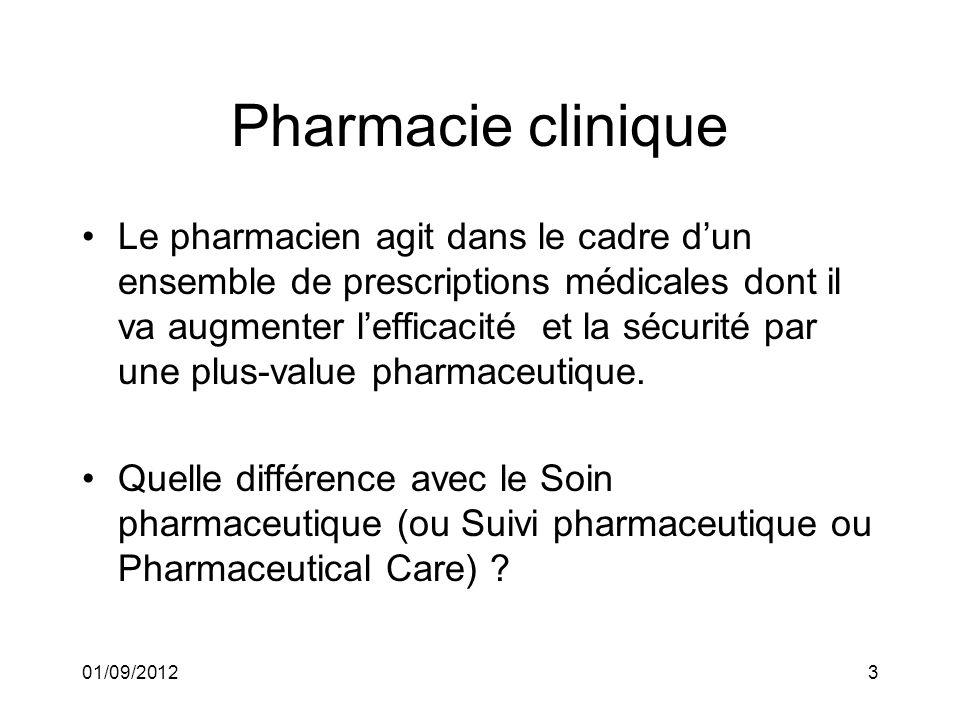01/09/20123 Pharmacie clinique Le pharmacien agit dans le cadre dun ensemble de prescriptions médicales dont il va augmenter lefficacité et la sécurit