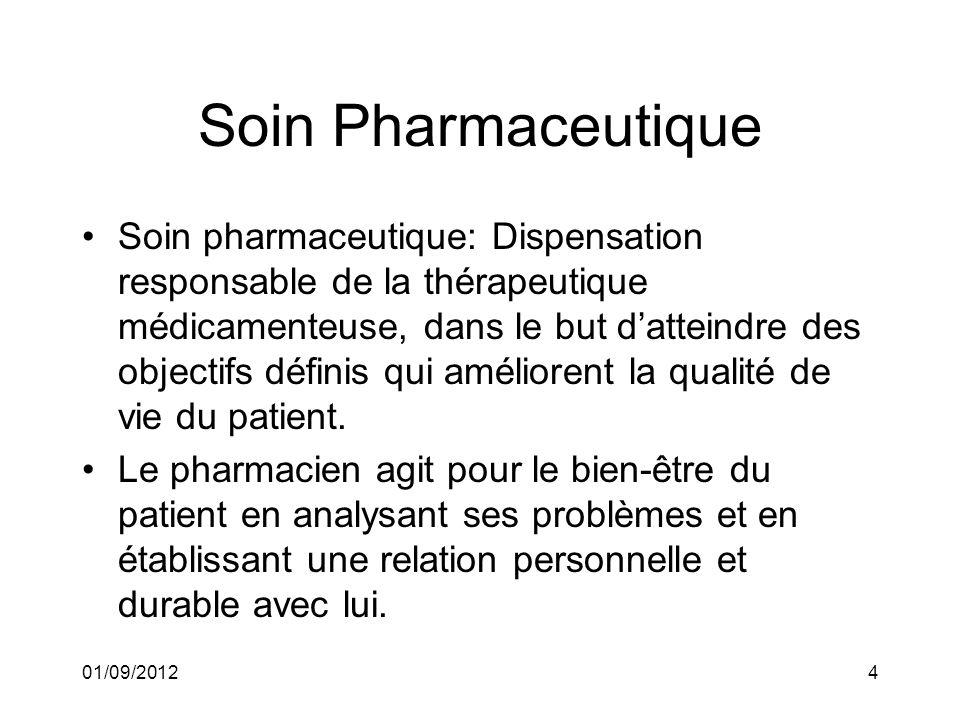 01/09/20124 Soin Pharmaceutique Soin pharmaceutique: Dispensation responsable de la thérapeutique médicamenteuse, dans le but datteindre des objectifs