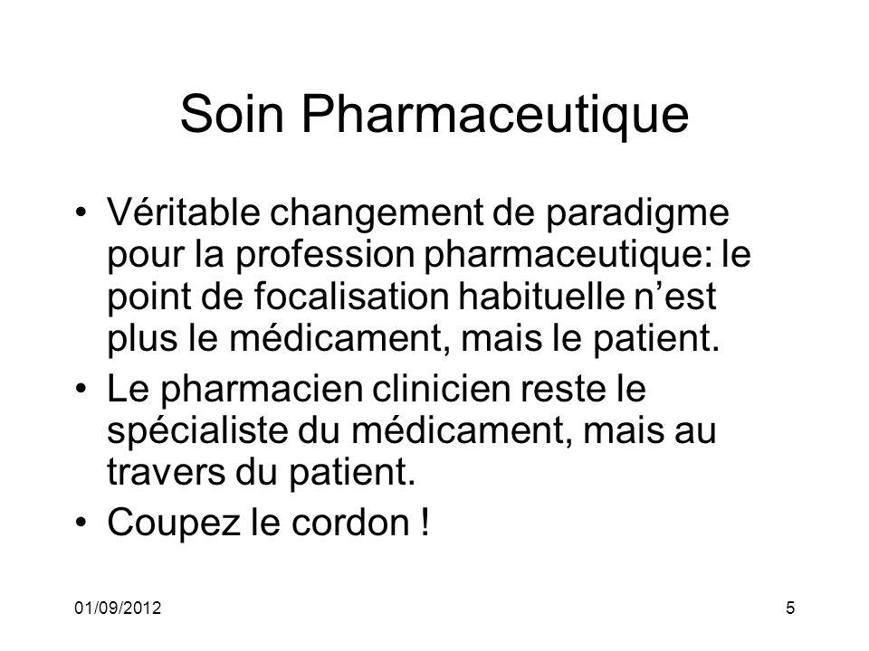 01/09/20125 Soin Pharmaceutique Véritable changement de paradigme pour la profession pharmaceutique: le point de focalisation habituelle nest plus le