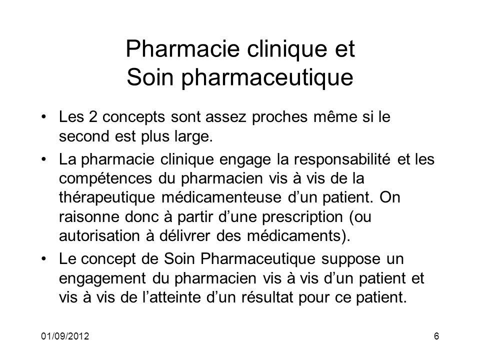 01/09/20126 Pharmacie clinique et Soin pharmaceutique Les 2 concepts sont assez proches même si le second est plus large. La pharmacie clinique engage