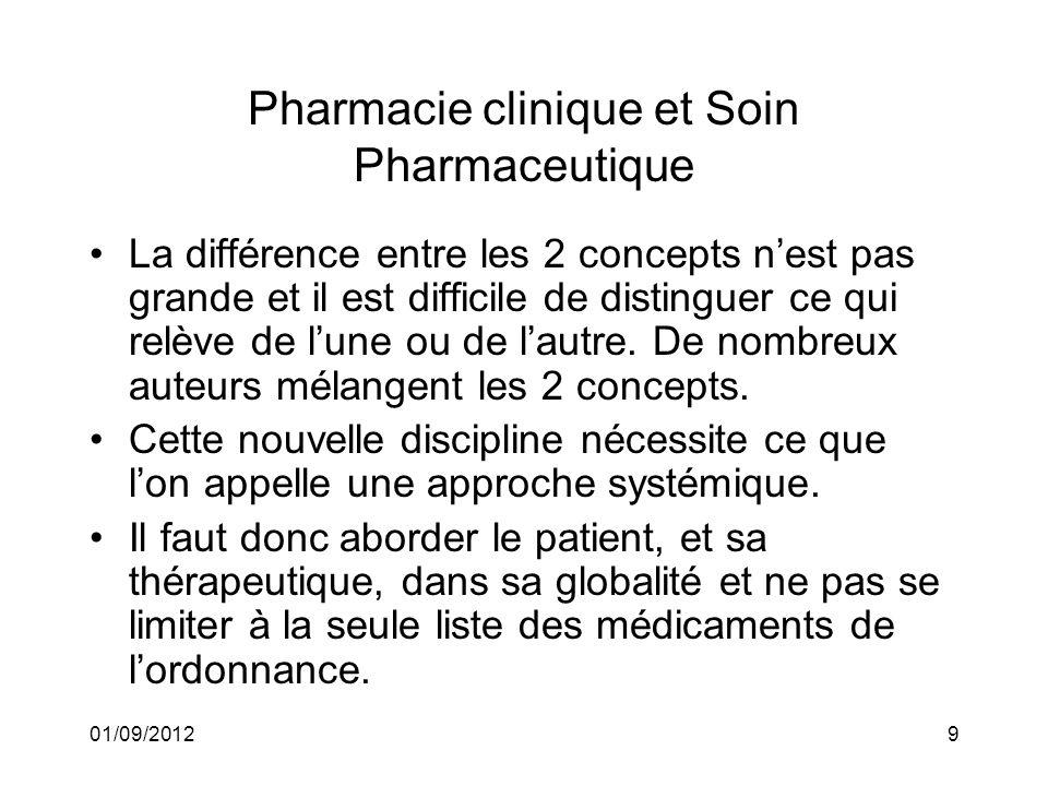 01/09/20129 Pharmacie clinique et Soin Pharmaceutique La différence entre les 2 concepts nest pas grande et il est difficile de distinguer ce qui relè