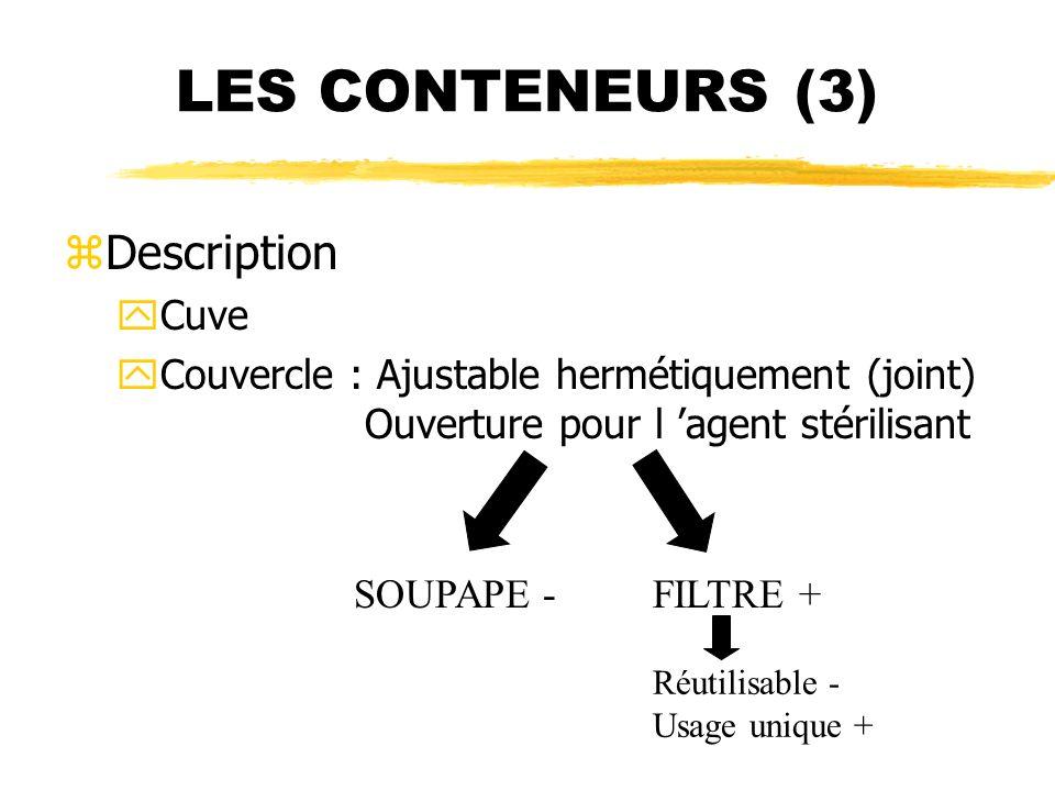 LES CONTENEURS (3) zDescription yCuve yCouvercle : Ajustable hermétiquement (joint) Ouverture pour l agent stérilisant SOUPAPE -FILTRE + Réutilisable