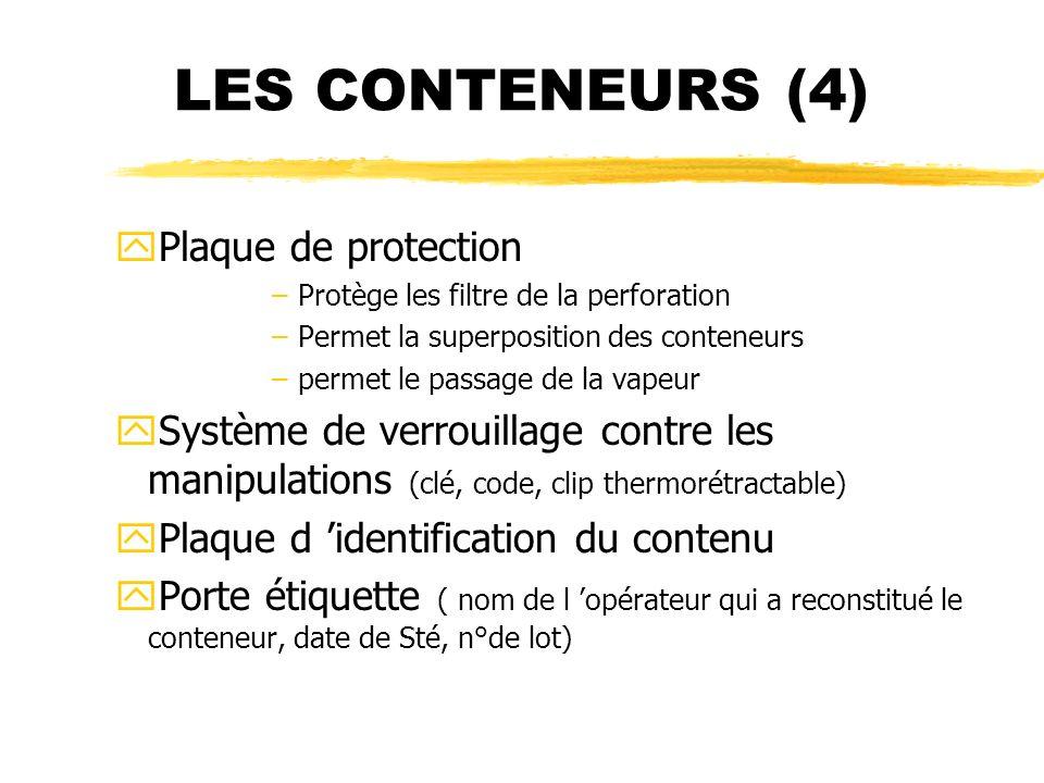 LES CONTENEURS (4) yPlaque de protection –Protège les filtre de la perforation –Permet la superposition des conteneurs –permet le passage de la vapeur