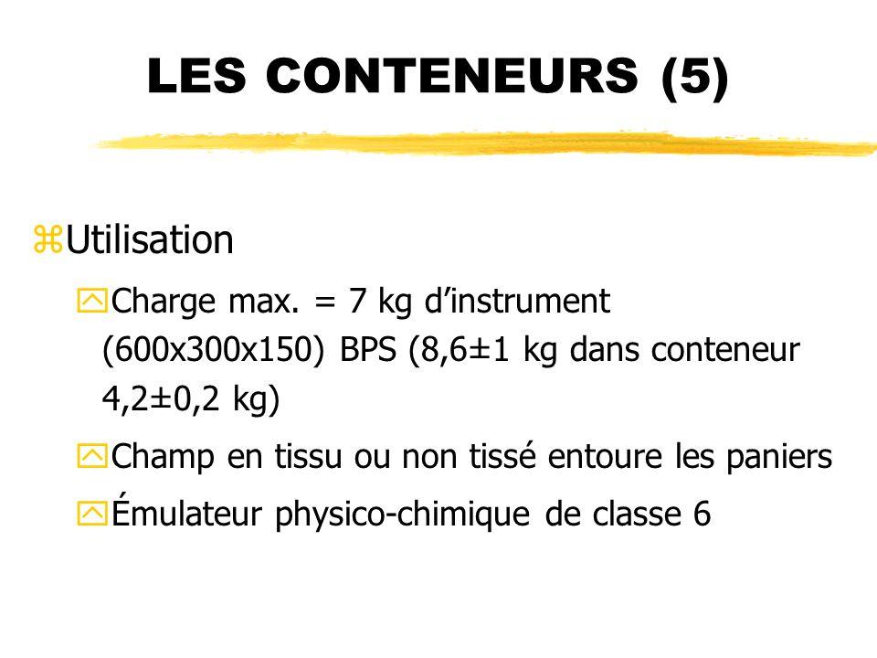 LES CONTENEURS (5) zUtilisation yCharge max. = 7 kg dinstrument (600x300x150) BPS (8,6±1 kg dans conteneur 4,2±0,2 kg) yChamp en tissu ou non tissé en