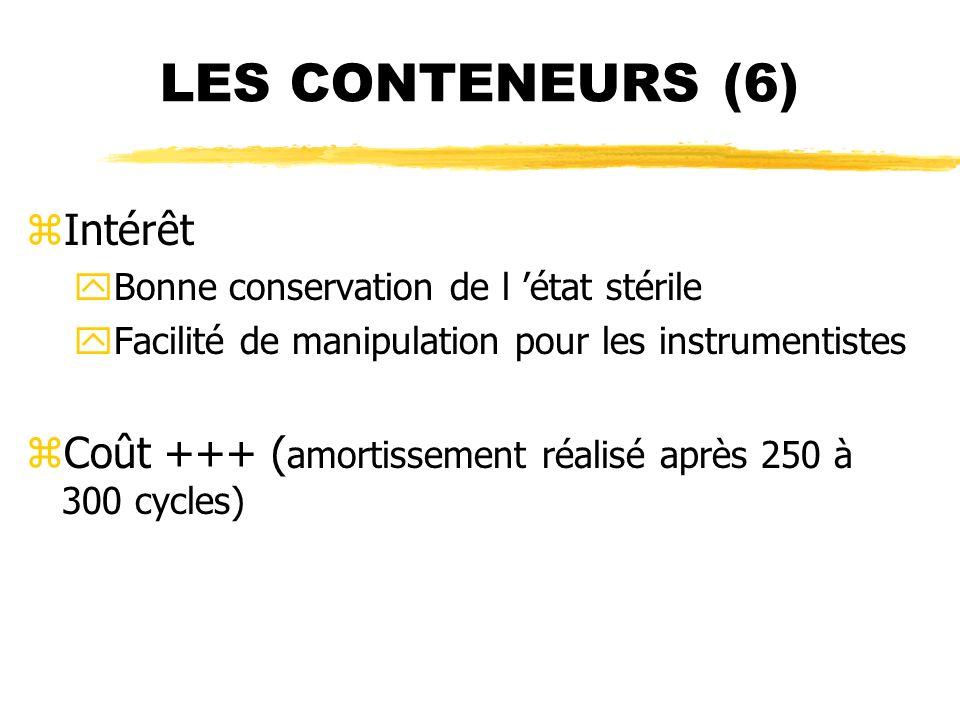 LES CONTENEURS (6) zIntérêt yBonne conservation de l état stérile yFacilité de manipulation pour les instrumentistes zCoût +++ ( amortissement réalisé