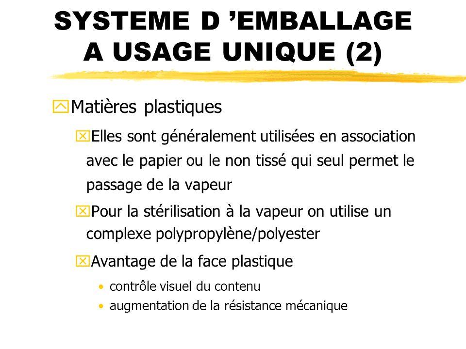 SYSTEME D EMBALLAGE A USAGE UNIQUE (2) yMatières plastiques xElles sont généralement utilisées en association avec le papier ou le non tissé qui seul