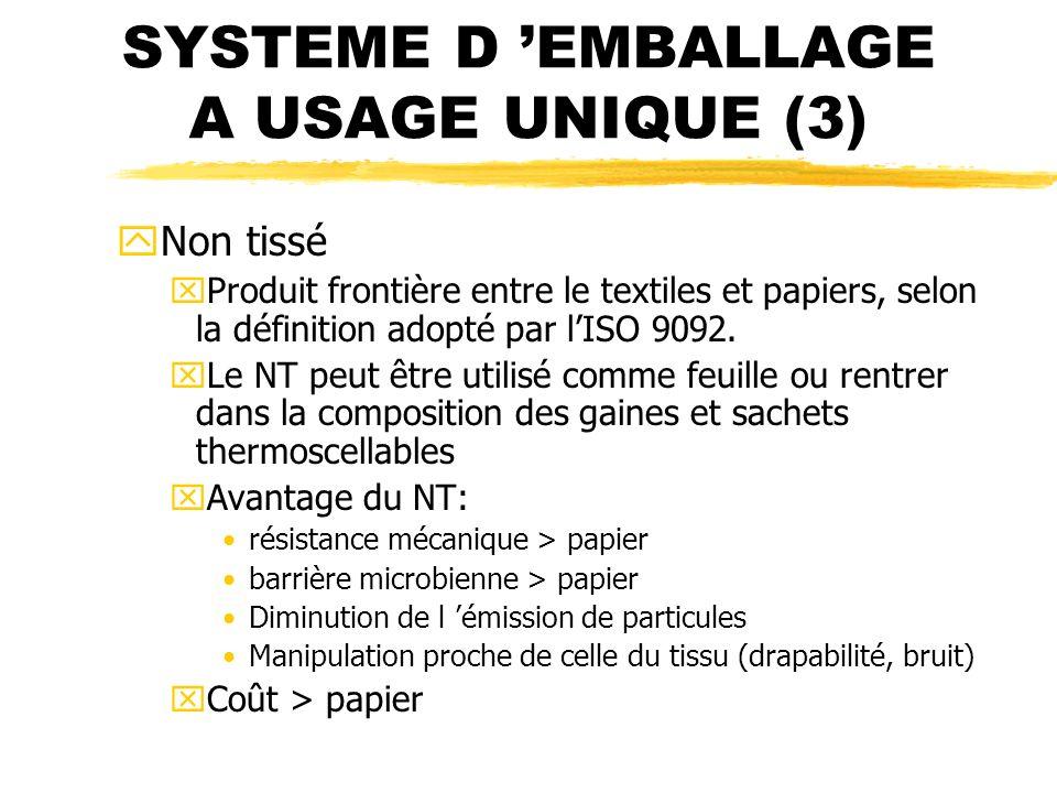 SYSTEME D EMBALLAGE A USAGE UNIQUE (3) yNon tissé xProduit frontière entre le textiles et papiers, selon la définition adopté par lISO 9092. xLe NT pe