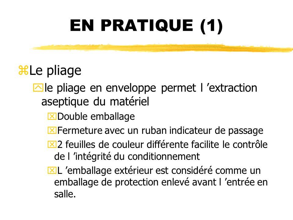 EN PRATIQUE (1) zLe pliage yle pliage en enveloppe permet l extraction aseptique du matériel xDouble emballage xFermeture avec un ruban indicateur de