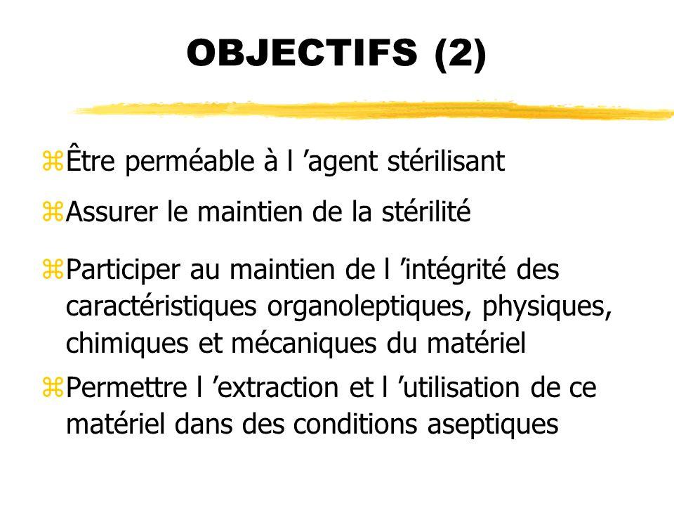 OBJECTIFS (2) zÊtre perméable à l agent stérilisant zAssurer le maintien de la stérilité zParticiper au maintien de l intégrité des caractéristiques o