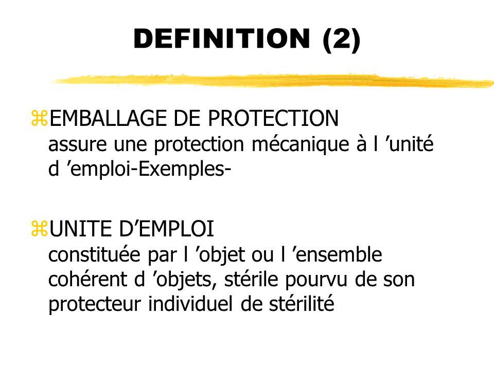 DEFINITION (2) zEMBALLAGE DE PROTECTION assure une protection mécanique à l unité d emploi-Exemples- zUNITE DEMPLOI constituée par l objet ou l ensemb