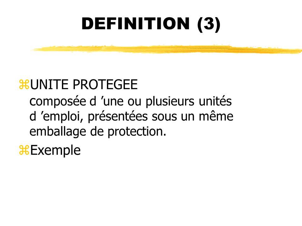 DEFINITION (3) zUNITE PROTEGEE c omposée d une ou plusieurs unités d emploi, présentées sous un même emballage de protection. zExemple