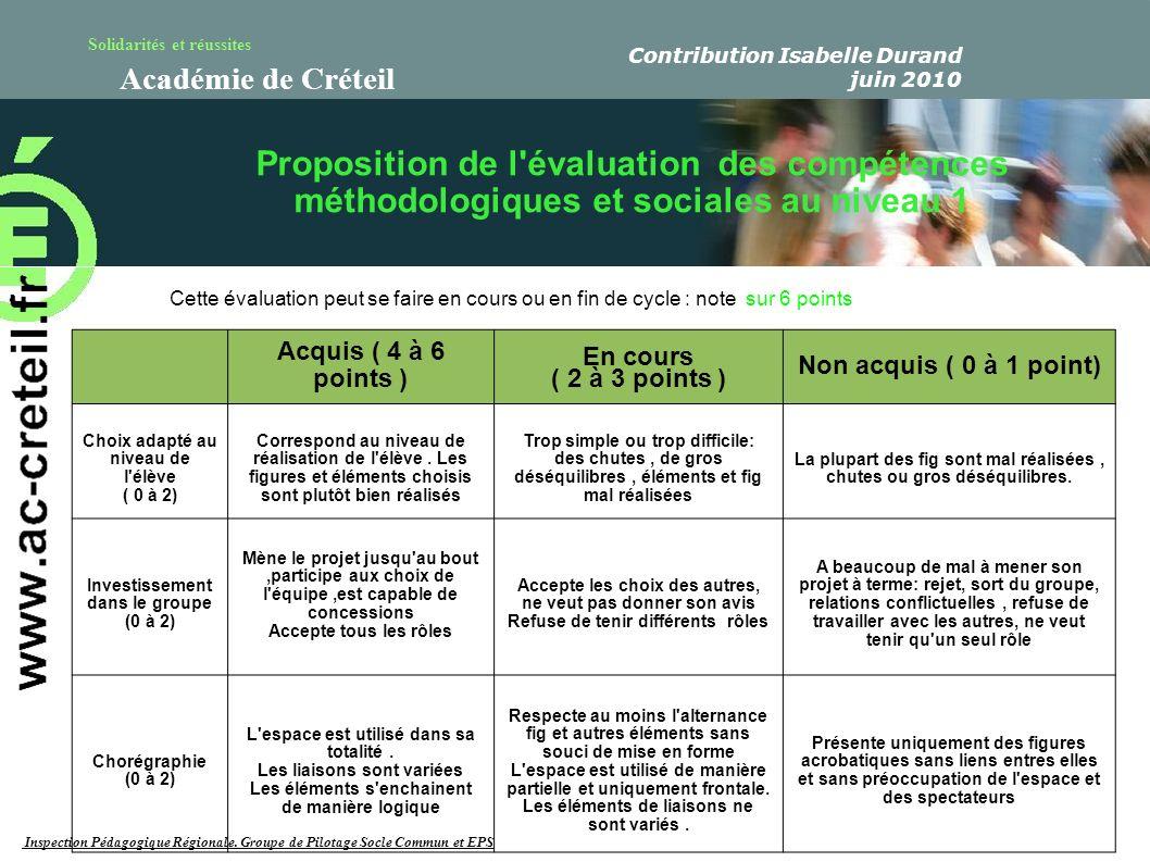 Solidarités et réussites Académie de Créteil Acquis ( 4 à 6 points ) En cours ( 2 à 3 points ) Non acquis ( 0 à 1 point) Choix adapté au niveau de l'é