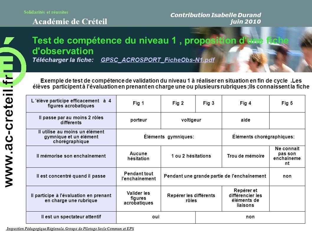 Solidarités et réussites Académie de Créteil Test de compétence du niveau 1, proposition d'une fiche d'observation Télécharger la fiche: GPSC_ACROSPOR