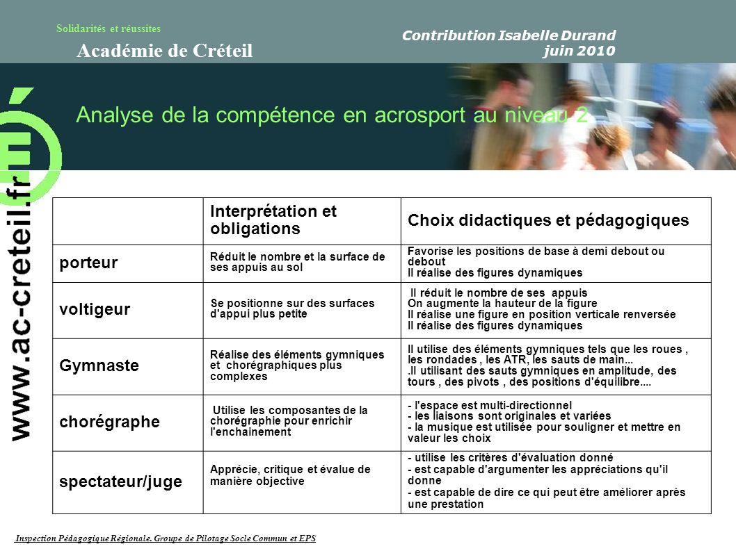 Solidarités et réussites Académie de Créteil Analyse de la compétence en acrosport au niveau 2 Interprétation et obligations Choix didactiques et péda