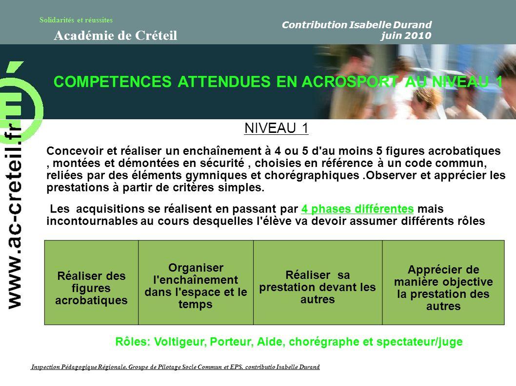 Solidarités et réussites Académie de Créteil Décryptage de la compétence attendue en acrosport au niveau 1 Nous décomposons les termes de la compétences ainsi : «...Concevoir un enchaînement en groupe...
