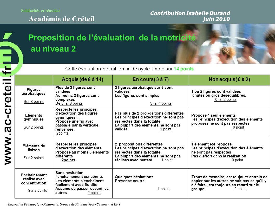 Solidarités et réussites Académie de Créteil Cette évaluation se fait en fin de cycle : note sur 14 points Proposition de l'évaluation de la motricité