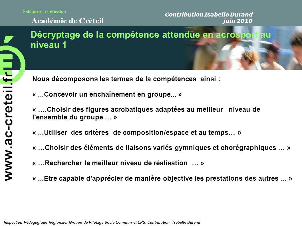 Solidarités et réussites Académie de Créteil Décryptage de la compétence attendue en acrosport au niveau 1 Nous décomposons les termes de la compétenc