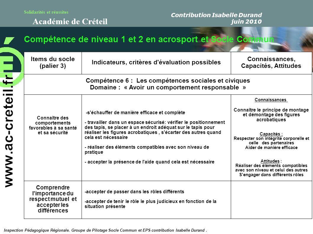 Solidarités et réussites Académie de Créteil Compétence de niveau 1 et 2 en acrosport et Socle Commun Inspection Pédagogique Régionale. Groupe de Pilo