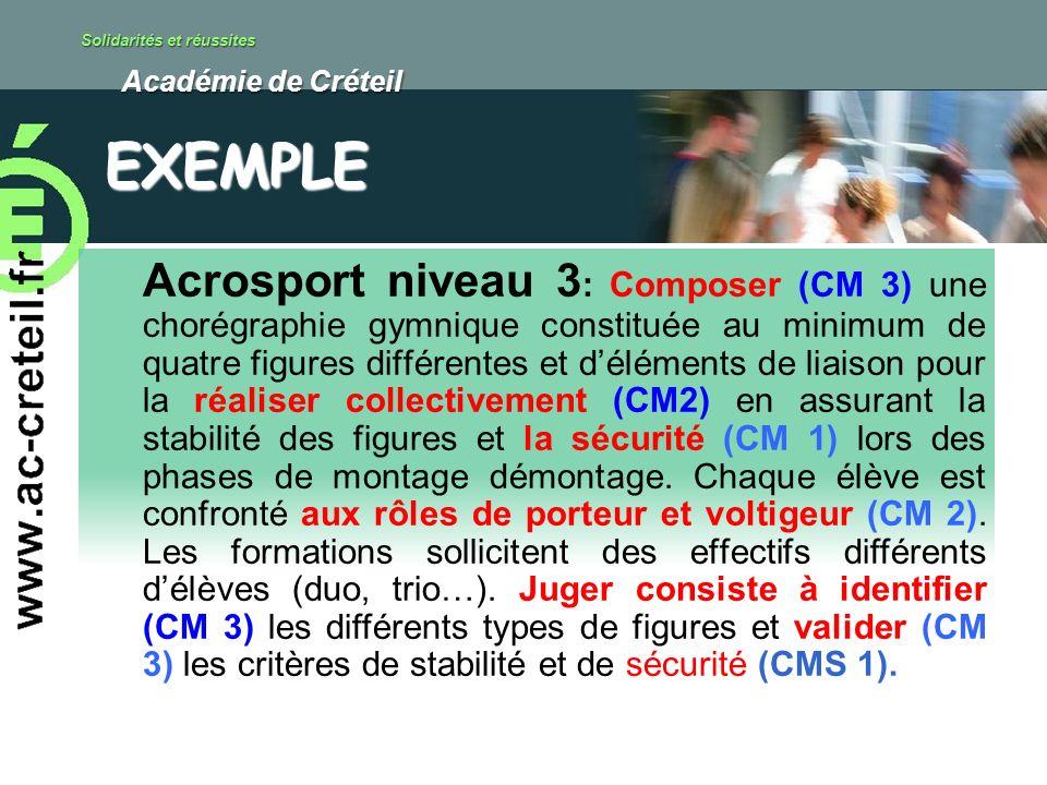 Solidarités et réussites Académie de Créteil Académie de Créteil Acrosport niveau 3 : Composer (CM 3) une chorégraphie gymnique constituée au minimum