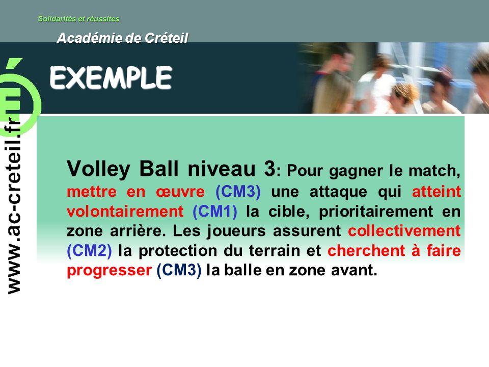 Solidarités et réussites Académie de Créteil Académie de Créteil Volley Ball niveau 3 : Pour gagner le match, mettre en œuvre (CM3) une attaque qui at