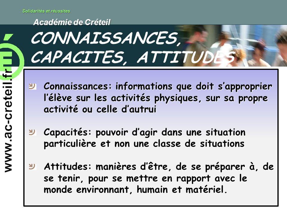Solidarités et réussites Académie de Créteil Académie de Créteil Connaissances: informations que doit sapproprier lélève sur les activités physiques,