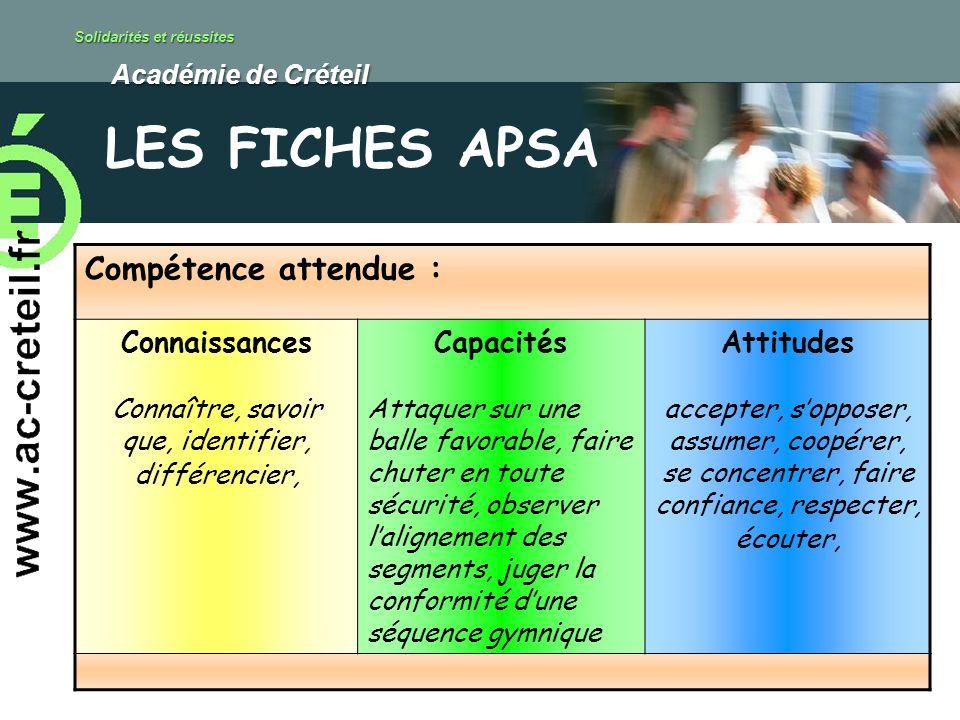 Solidarités et réussites Académie de Créteil Académie de Créteil Compétence attendue : Connaissances Connaître, savoir que, identifier, différencier,