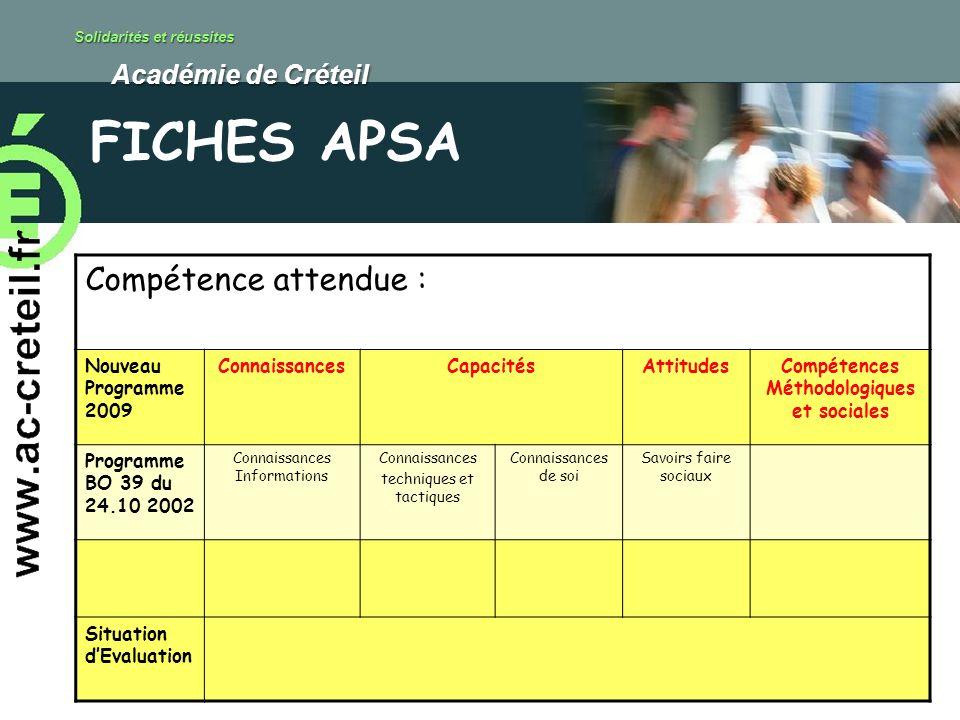 Solidarités et réussites Académie de Créteil Académie de Créteil FICHES APSA Compétence attendue : Nouveau Programme 2009 ConnaissancesCapacitésAttitu