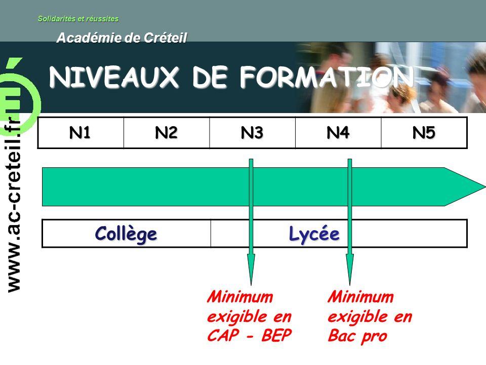 Solidarités et réussites Académie de Créteil Académie de Créteil NIVEAUX DE FORMATION N1N2N3N4N5 Collège Lycée Lycée Minimum exigible en CAP - BEP Min
