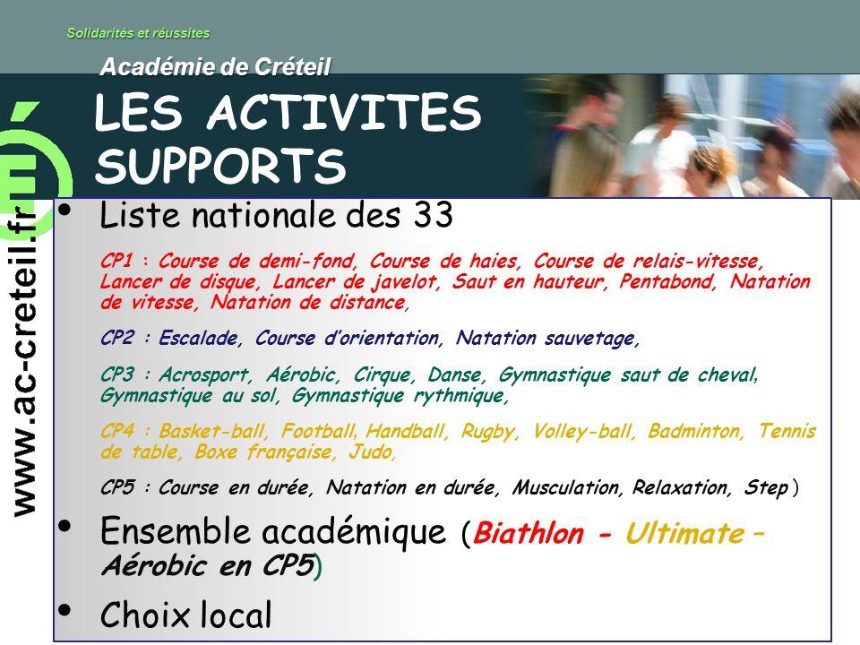 Solidarités et réussites Académie de Créteil Académie de Créteil Liste nationale des 33 CP1 : Course de demi-fond, Course de haies, Course de relais-v