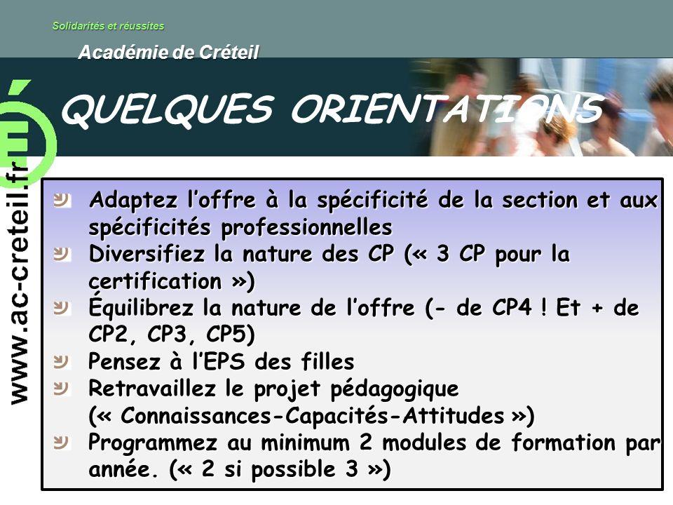 Solidarités et réussites Académie de Créteil Académie de Créteil Adaptez loffre à la spécificité de la section et aux spécificités professionnelles Di