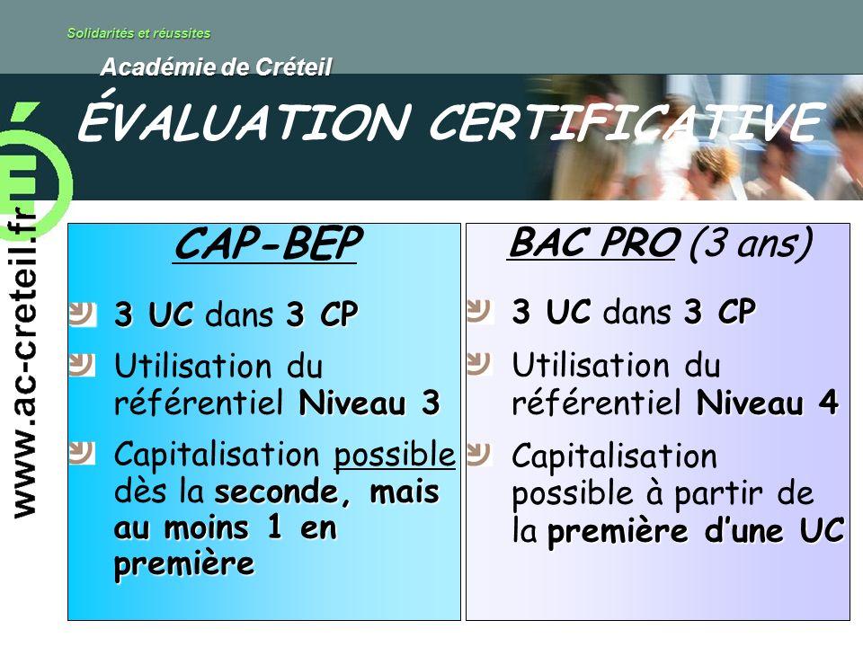 Solidarités et réussites Académie de Créteil Académie de Créteil CAP-BEP 3 UC3 CP 3 UC dans 3 CP Niveau 3 Utilisation du référentiel Niveau 3 seconde,