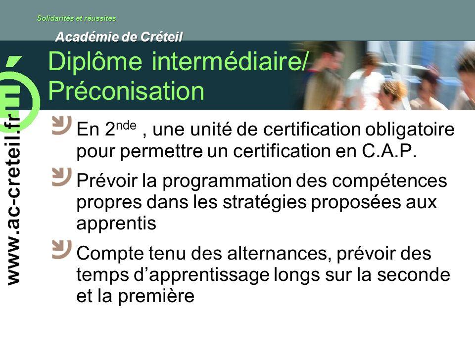 Solidarités et réussites Académie de Créteil Académie de Créteil Diplôme intermédiaire/ Préconisation En 2 nde, une unité de certification obligatoire