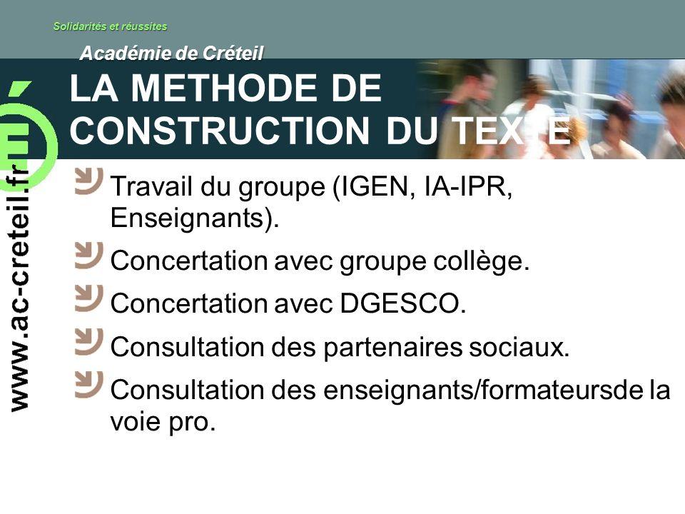 Solidarités et réussites Académie de Créteil Académie de Créteil LA METHODE DE CONSTRUCTION DU TEXTE Travail du groupe (IGEN, IA-IPR, Enseignants). Co