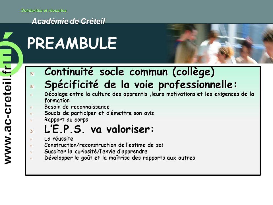 Solidarités et réussites Académie de Créteil Académie de Créteil Continuité socle commun (collège) Spécificité de la voie professionnelle: Décalage en