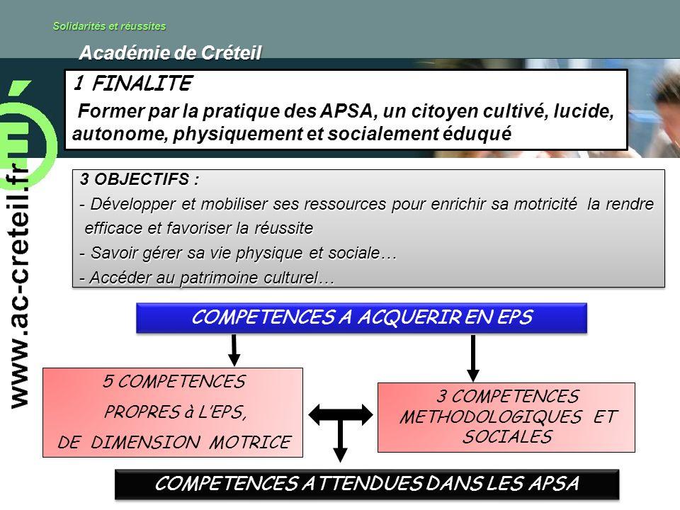 Solidarités et réussites Académie de Créteil Académie de Créteil 1 FINALITE Former par la pratique des APSA, un citoyen cultivé, lucide, autonome, phy