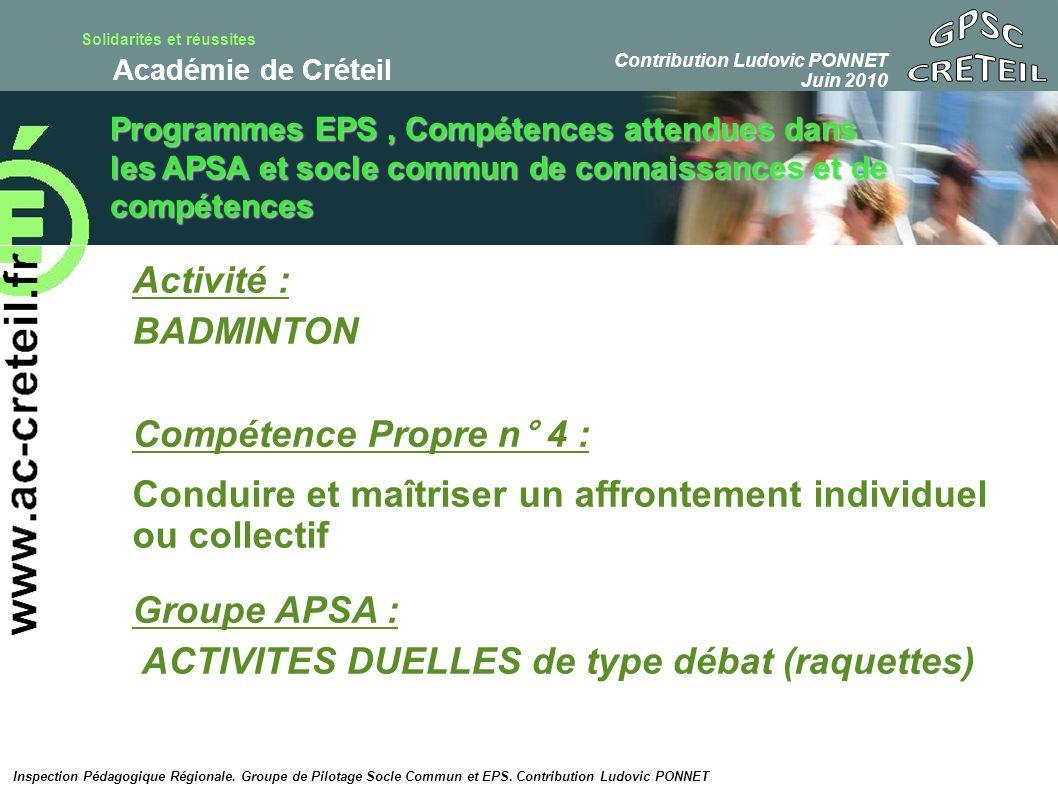Solidarités et réussites Académie de Créteil Proposition de « tâche complexe » de niveau 2 collège en Badminton : e.
