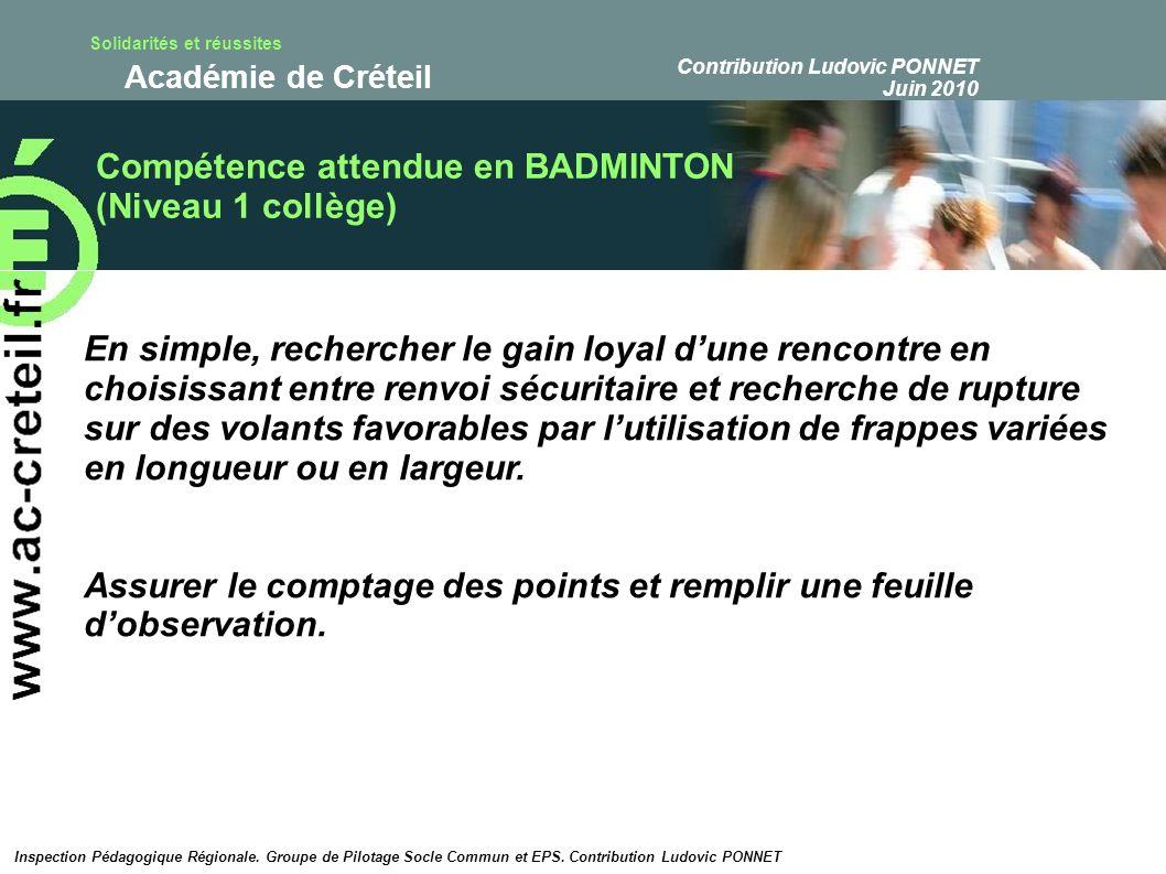 Solidarités et réussites Académie de Créteil Décryptage de la compétence attendue en BADMINTON (Niveau 1 collège) Nous décomposons les termes de la compétence ainsi : « En simple, rechercher le gain loyal dune rencontre….