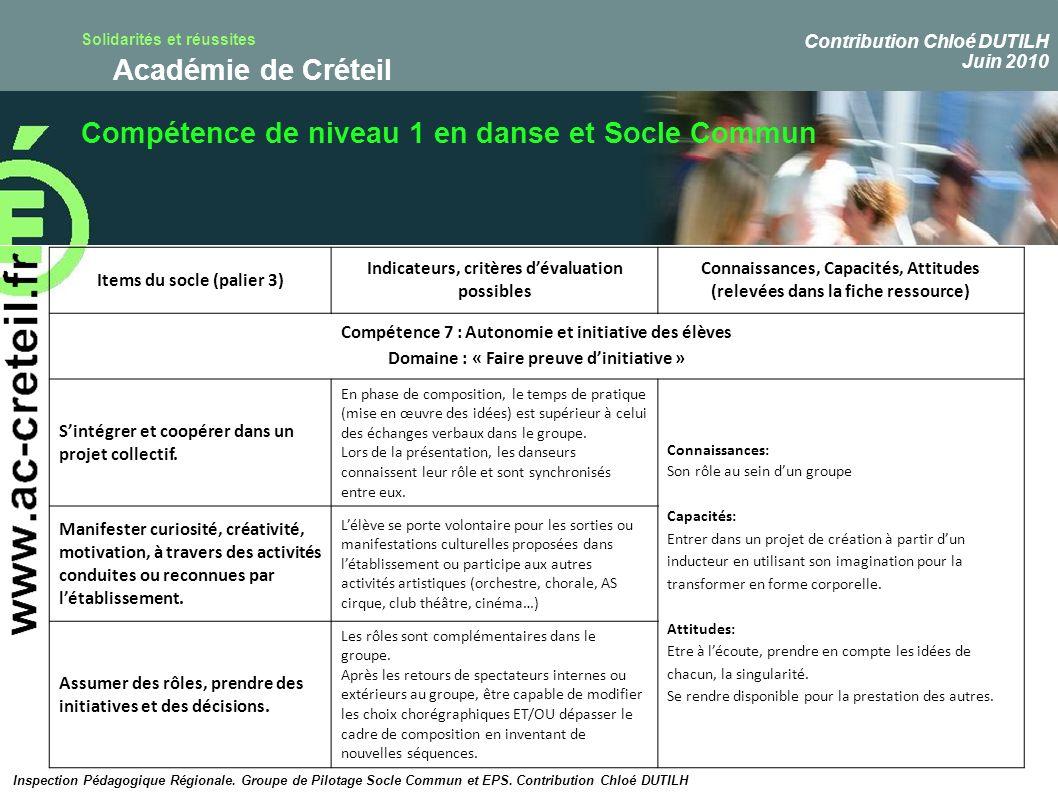 Solidarités et réussites Académie de Créteil Compétence de niveau 1 en danse et Socle Commun Inspection Pédagogique Régionale. Groupe de Pilotage Socl