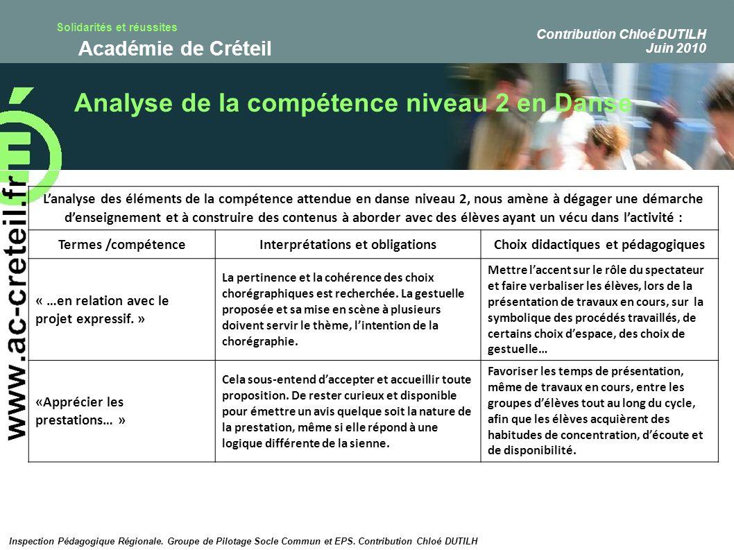 Solidarités et réussites Académie de Créteil Analyse de la compétence niveau 2 en Danse Lanalyse des éléments de la compétence attendue en danse nivea