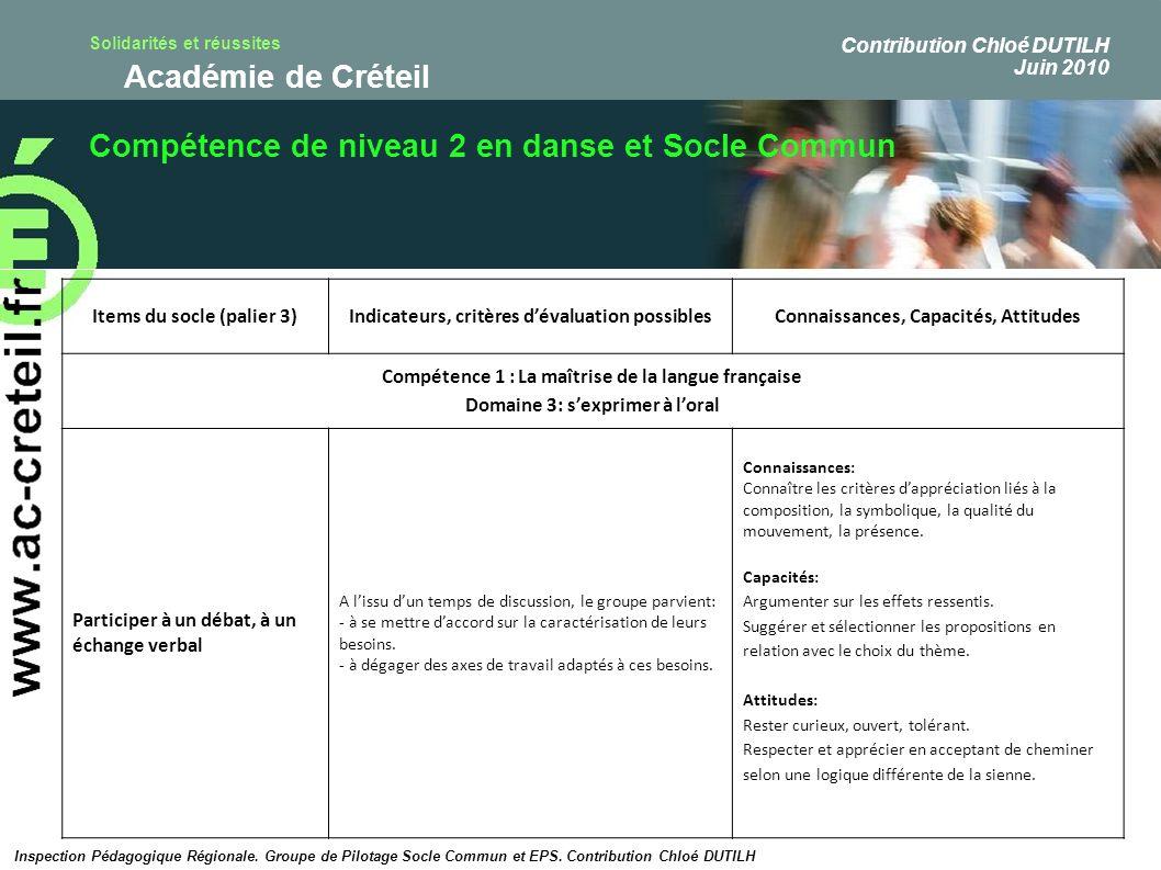 Solidarités et réussites Académie de Créteil Compétence de niveau 2 en danse et Socle Commun Inspection Pédagogique Régionale. Groupe de Pilotage Socl