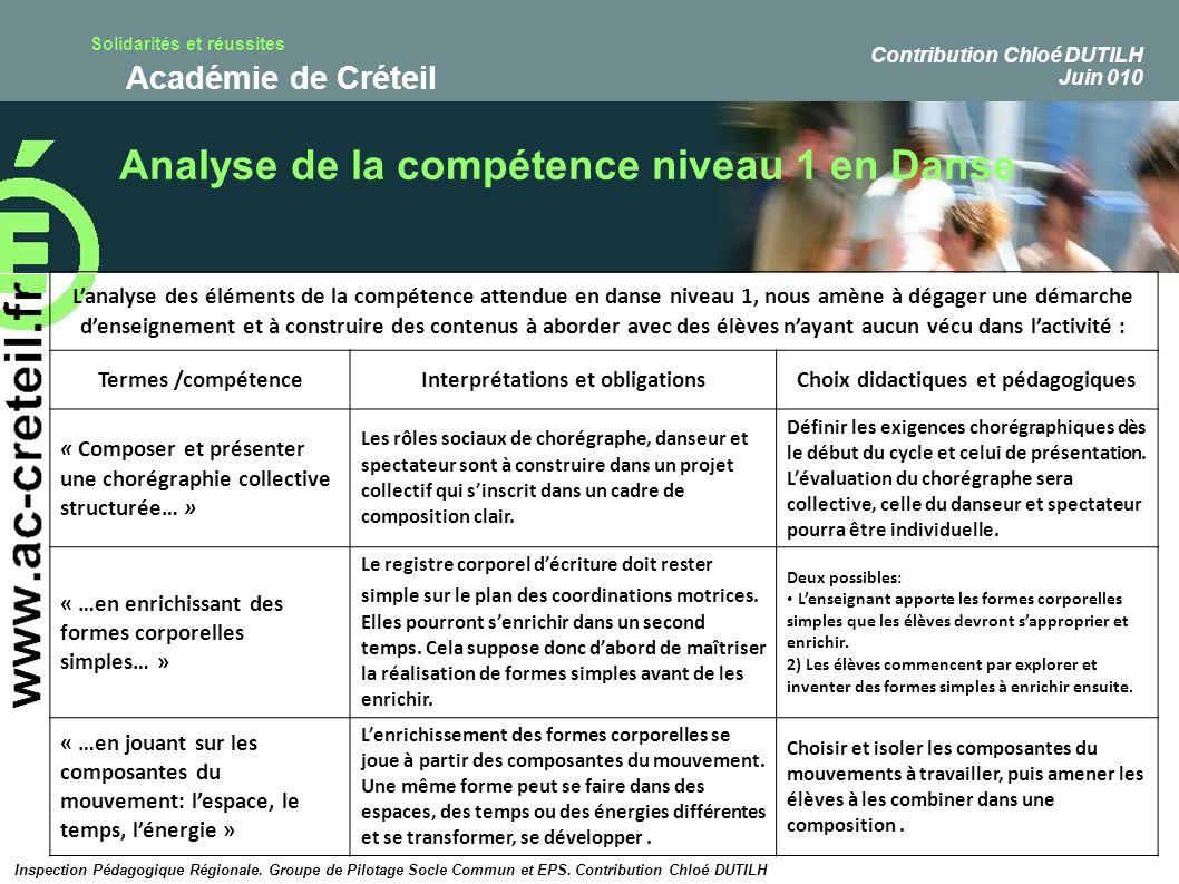 Solidarités et réussites Académie de Créteil Analyse de la compétence niveau 1 en Danse Lanalyse des éléments de la compétence attendue en danse nivea