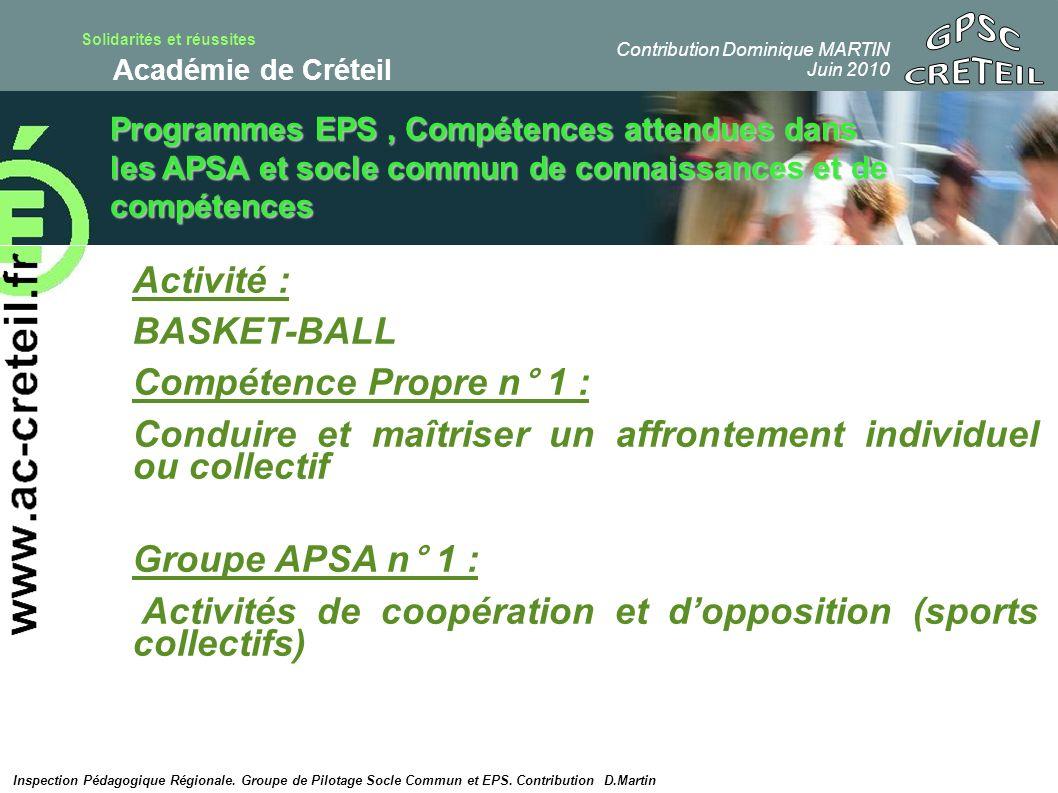 Solidarités et réussites Académie de Créteil Programmes EPS, Compétences attendues dans les APSA et socle commun de connaissances et de compétences Ac