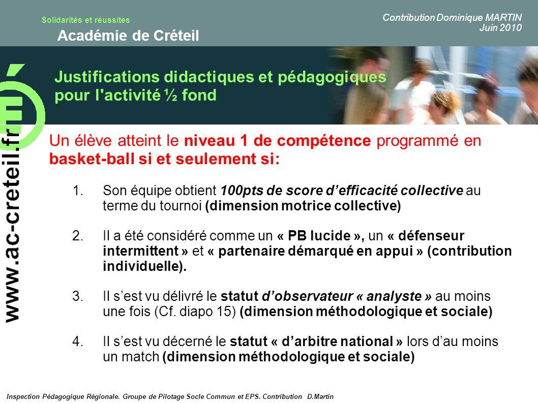 Solidarités et réussites Académie de Créteil Justifications didactiques et pédagogiques pour l'activité ½ fond Inspection Pédagogique Régionale. Group