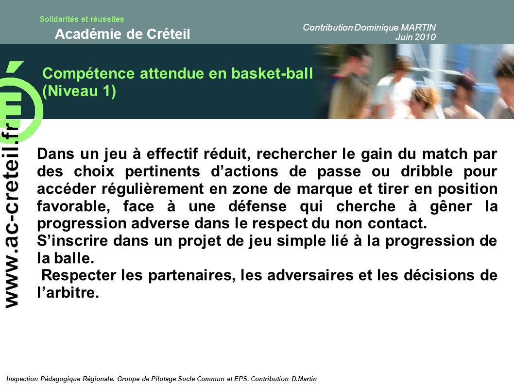 Solidarités et réussites Académie de Créteil Passages obligés et construction de la compétence de niveau 1 en basket-ball Modélisation de la construction de la compétence de niveau 1 Pour lélève :Observables ETAPE 1 NON ACQUIS 0/1 point ETAPE 2 EN COURS DACQUISITION 1/2,5 points ETAPE 3 ACQUIS 2,5 / 4 points « le porteur de balle » Le volume de jeu Le pied de pivot Gestion de lalternative passe / dribbles Qualité des passes et du dribble Le ballon brûlant / le dribbleur fou Peu de possessions Ne soriente pas Choix prédeterminé ( se préserver= passe aléatoire immédiate / « flamber »= dribble explosif systématique passe aléatoire qd il na plus le choix..) Soriente face à la cible quand la pression défensive le permet.