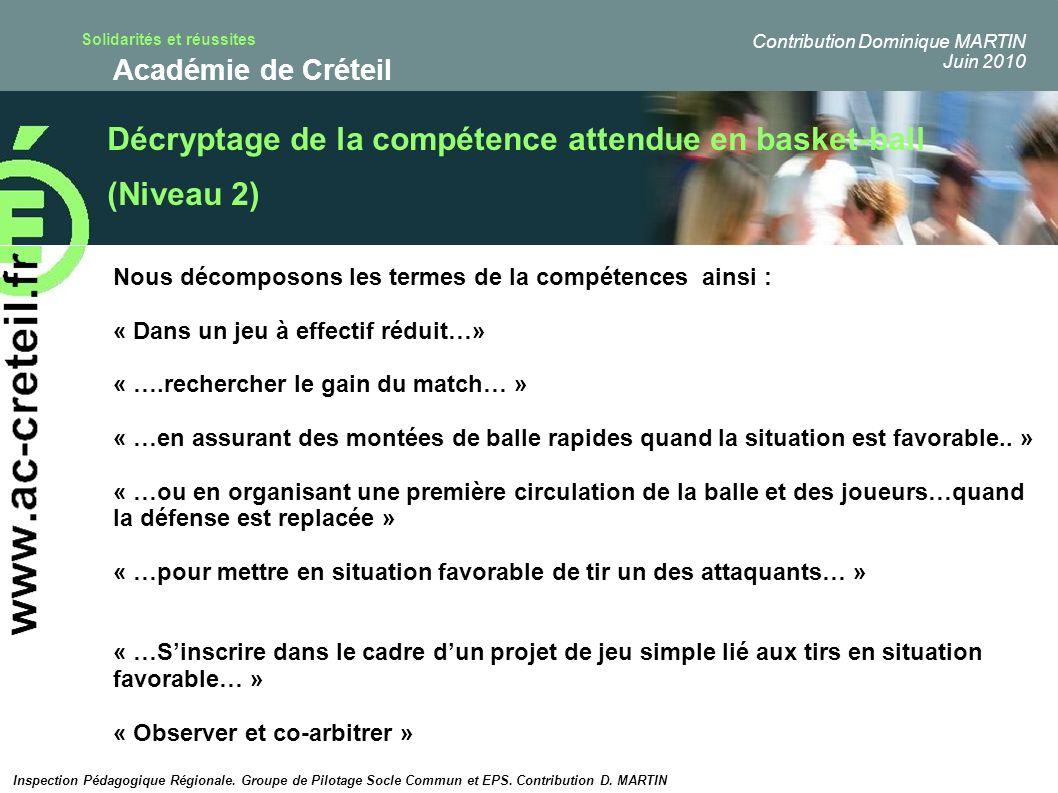 Solidarités et réussites Académie de Créteil Décryptage de la compétence attendue en basket-ball (Niveau 2) Nous décomposons les termes de la compéten
