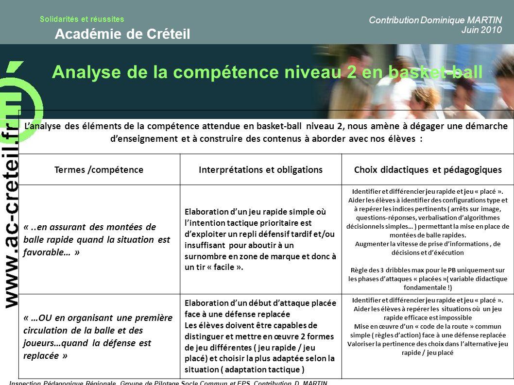Solidarités et réussites Académie de Créteil Analyse de la compétence niveau 2 en basket-ball Lanalyse des éléments de la compétence attendue en baske