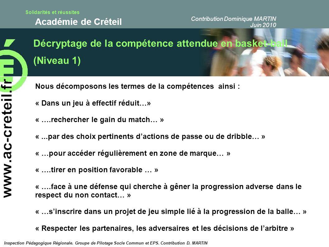 Solidarités et réussites Académie de Créteil Décryptage de la compétence attendue en basket-ball (Niveau 1) Nous décomposons les termes de la compéten