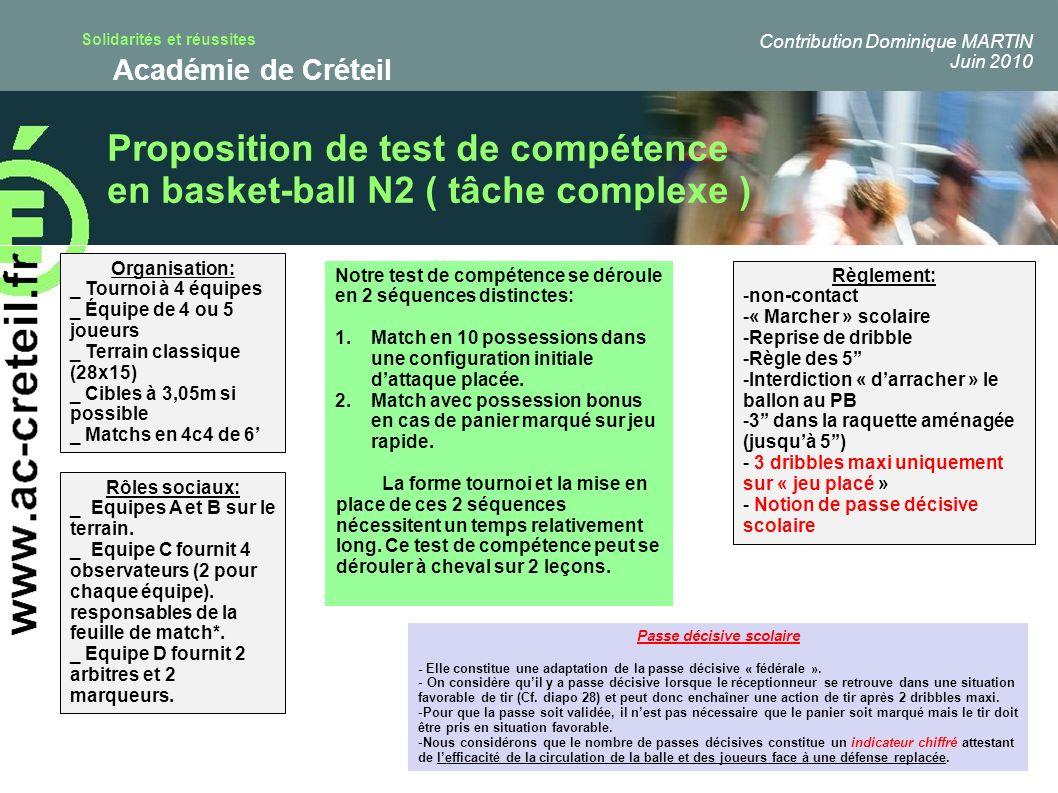 Solidarités et réussites Académie de Créteil Proposition de test de compétence en basket-ball N2 ( tâche complexe ) t Organisation: _ Tournoi à 4 équi